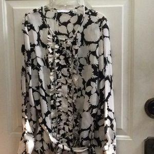 Isaac Mizrahi Live floral work blouse Sz XS